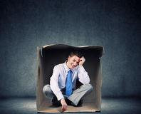 Man in box Royalty Free Stock Photo