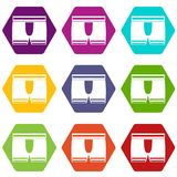 Man boxer briefs icon set color hexahedron. Man boxer briefs icon set many color hexahedron isolated on white vector illustration Royalty Free Stock Photography