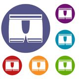 Man boxer briefs icons set Stock Photography