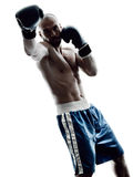 Man boxers boxing isolated silhouette Stock Photography