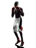Man boxers boxing isolated silhouette Royalty Free Stock Images