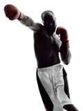 Man boxers boxing isolated silhouette. One man boxers boxing on isolated silhouette white background Royalty Free Stock Photography