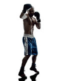 Man boxers boxing isolated silhouette Royalty Free Stock Photo