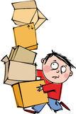 Man with a boxes. A funny man with a huge pile of boxes Royalty Free Stock Photography