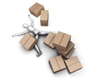 Man with boxes. 3D render of someone flattened by a stack of boxes Royalty Free Stock Photos