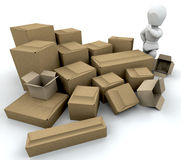 Man with boxes Stock Images