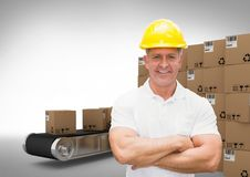 Man with boxes on conveyor belt, transition Stock Photos