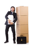Man with boxes Stock Photo