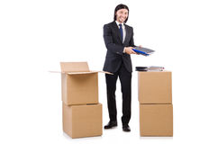 Man with boxes Royalty Free Stock Photography
