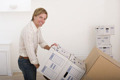 Man with boxes, portrait Stock Photo