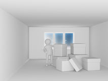 Man with boxes in room Royalty Free Stock Photos