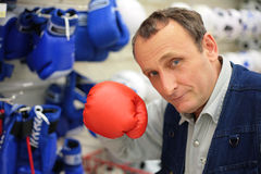 The man with a boxing glove Stock Images