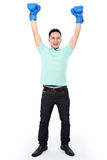 Man with boxing glove win Stock Image