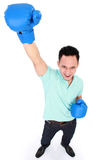 Man with boxing glove win Stock Images