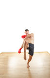 Man with boxing gloves ready to kick opponents Royalty Free Stock Photography