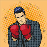 Man in boxing gloves vector illustration in comic pop art style. Businessman ready to fight and protect his business Stock Photo
