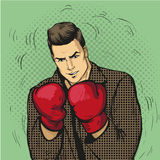 Man in boxing gloves vector illustration in comic pop art style. Businessman ready to fight and protect his business Stock Photos