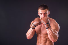 The man in boxing gloves Stock Photography