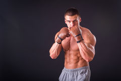 The man in boxing gloves Royalty Free Stock Photography
