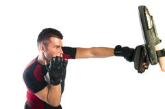 Man boxing in MMA gloves Stock Photo