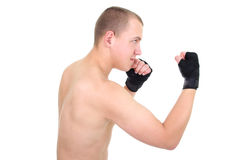 Man boxing over white Stock Photography
