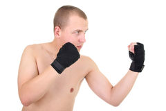 Man boxing over white background Stock Images