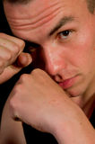 Man in boxing pose Stock Photography