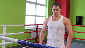 A man in the Boxing ring stock video