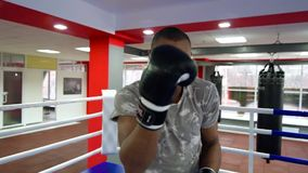 Man boxing in the ring, lifestyle sport. African american man boxing in the ring, lifestyle sport stock video footage