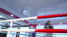 Man boxing in the ring, lifestyle sport. African american man boxing in the ring, lifestyle sport stock video
