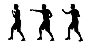 Man boxing silhouettes set 1. Young white man boxing silhouettes Royalty Free Stock Images
