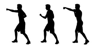 Man boxing silhouettes set 2. Young white man boxing silhouettes Royalty Free Stock Images