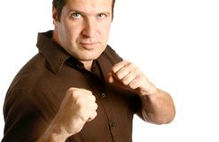Man in boxing stance Royalty Free Stock Photos