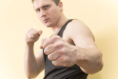 Man in a Boxing stance Stock Photo