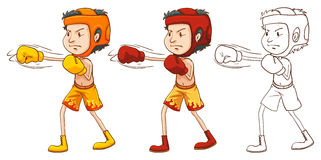 Man boxing in three different drawing styles Royalty Free Stock Image
