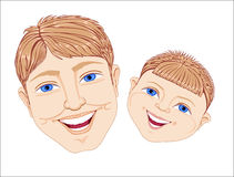 Man and boy. Blue-eyed daddy and the son with benevolent smiles Stock Image