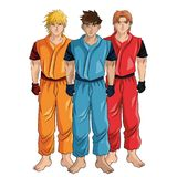 Man boy anime comic design. Man boy young anime manga comic cartoon fight game icon. Colorful and isolated design. Vector illustration Royalty Free Stock Photography
