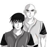 Man boy anime comic design. Man boy young anime manga comic cartoon fight icon. Black white grey and isolated design. Vector illustration Royalty Free Stock Photo