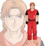 Man boy anime comic design. Man boy young anime manga comic cartoon fight game icon. Colorful design. Vector illustration Royalty Free Stock Photos