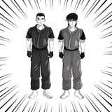 Man boy anime comic design. Man boy young anime manga comic cartoon fight icon. Black white grey striped and isolated design. Vector illustration Royalty Free Stock Image