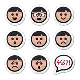 Man, boy faces, avatar  icons set Royalty Free Stock Photo