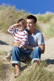 Man & Boy, Father and Son Having Fun At Beach Stock Images