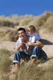 Man & Boy, Father and Son Having Fun At Beach Royalty Free Stock Photos