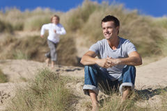 Man & Boy, Father and Son Having Fun At Beach Royalty Free Stock Photo