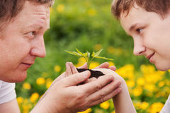 Man and boy holding green plant in hands. Stock Photos