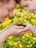 Man and boy holding green plant in hands. Royalty Free Stock Images
