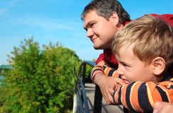 Man and boy outdoor in summer Stock Photos