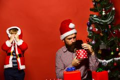 Man and boy in Santa hat play hide and seek. With puppy. Father and son unpack present boxes on red background. Dad with beard and kid hold little dog near stock photo
