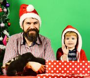 Man and boy in Santa hats play with puppies. Pet for Christmas concept. Dad with beard and kid hold dogs near Christmas tree. Father and son with happy faces stock photography