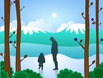 Man and boy in snow Royalty Free Stock Images